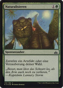 Naturalize German Rivals of Ixalan foil.