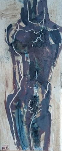 tekening in oxide op klei (h 52 cm)