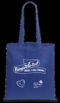 sac reutilisable bleu royal - Bénévole-toi! j'imagine, j'y crois, j'embarque - Arrondissement de Beauport