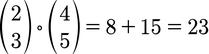 Beispiel zur Berechnung des Skalarprodukts für 2D Vektoren