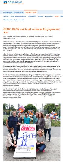 Pressemitteilung der GENO BANK vom 22.08.2017