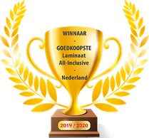 Beker met winnaar van de goedkoopste laminaat inclusief leggen prijs
