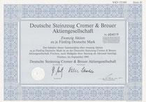 Aktie der Deutsche Steinzeug Cremer & Breuer AG: 20 x 50,-- DM v. 1994