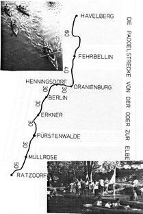 Die Farhtstrecke und die Stationen der Paddeltour
