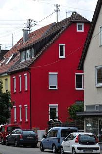 Katharinenstraße 2 (rotes Haus), im Erdgeschoss wohnte Anna Frank, Foto: Manuel Werner, alle Rechte vorbehalten!
