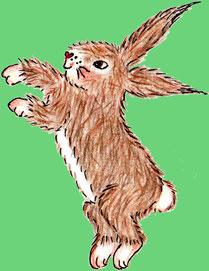 Der Hase Erpf Erdfell schlägt Haken (Buntstiftzeichnung)