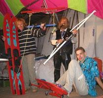 Die ersten Kiter nutzten Skier
