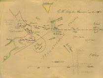 Karte des Ozeanfluges, die Hermann Köhl für seinen Vater zeichnete