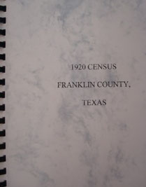 Cover of 1920 Federal Census of Franklin County, Texas