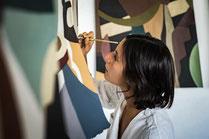 Peinture aplats couleurs douces, CREATRICE VIDEO POUR MATTHIEU CHEDID