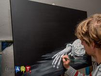 schwarz und weiß mit Acrylfarben