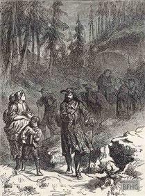 IMA.19.058 Flucht der Hugenotten (Holzstich, ND [vrmtl. 1865]) / © Sammlung BFHG