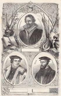 IMA.19.044 Die Reformatoren Philipp Melanchton, Martin Luther und Johannes Calvin (Holzstich, ND [vrmtl. 1865]) / © Sammlung BFHG