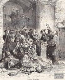 IMA.19.051 Verhaftung von Gottesdienstteilnehmern (Holzstich, ND [vrmtl. 1865]) / © Sammlung BFHG