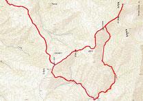 総距離28.7km、累積標高差1827m、所要時間16時間01分。