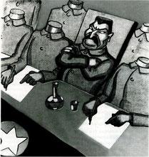 Caricature de E. Schilling, 1936 (DR)