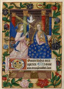 Blatt aus den Heures de Notre-Dame de Pitié, 15. Jahrhundert. Unter der Darstellung der Verkündung der Vers Herr, öffne meine Lippen, mit dem das Stundengebet eines jeden Tages eröffnet wird.