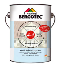 Bergotec Venti Holzlack-System 4  in 1 - Isolier-, Vor-, Zwischen- und Deckanstrich - innen und außen - weiß