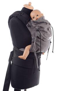 Huckepack Half Buckle, Babytrage ab Geburt,mitwachsendes Panel aus Tragetuchstoff, gut gepolsterte Träger zum Binden, stabiler Hüftgurt mit Schnalle.