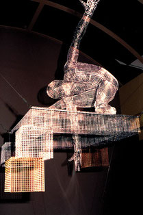 Aeonian Abode. (atrium detail). 1995. Wire mesh, stainless steel. 500 x 150 x 150cm. Caulfield, Krivanek & Sugar Architects.