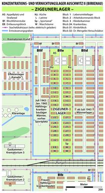 """Karte des """"Zigeunerlagers"""" im KZ Auschwitz II (Birkenau), erstellt von Maximilian Dörrbecker (Chumwa), Lizenz: Creative Commons Attribution-Share Alike 2.5 Generic"""