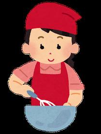 料理(ういろう)を作っている女性イラスト、泡だて器