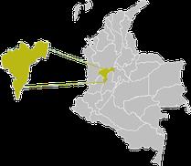 Karte Kaffeezone Kolumbien