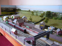 Shepley EVMRC's N gauge model railway layout built by Bev Sheppard. A view of the station area.