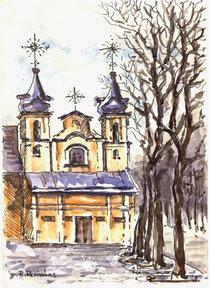 Autorius Rimas Revinskas. Akvarelė 15x21cm. Šv. Kryžiaus bažnyčia / St.Cross church. Watercolor 15x21