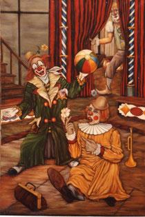 """""""Clown in der Manege"""", Ölgemälde von W. Vacano (c)"""