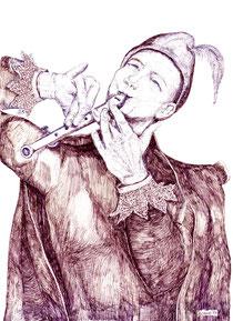 """""""Flötenspieler"""", Federstrich-Zeichnung von W. Vacano (c)"""