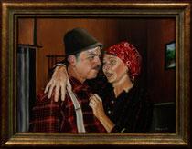 """""""Bauerntheater"""", Gemälde von W. Vacano (c)"""