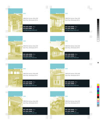 Eight business cards printed on one sheet, allowing each card to feature a different image of the client's work.