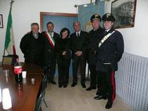 Il Sindaco Giuseppe Sabusco , Il prefetto Stefano Trotta, il Parroco Don Giovanni Licursi e  i Carabinieri di  Bonefro
