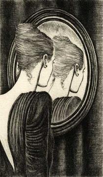 DONNA ALLO SPECCHIO, di A.Molino. Acquaforte, 1987