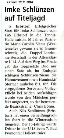 Imke und Nils Schlünzen bestreiten Punktspiele für den THC Lüneburg