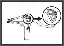 巻き取り量が多いセッティング(Vブレーキ用)回転軸から遠い