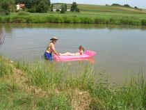Baden im Teich