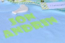 Baby-Body, mit Namen bedruckt