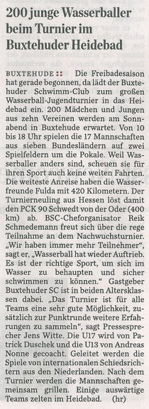 200 junge Wasserballer beim Turnier im Heidebad. Hamburger Abendblatt vom 10. Mai 2013