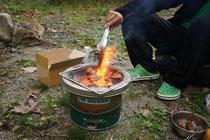 ボルダリングの後の炭火焼肉