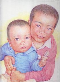 色鉛筆似顔絵 リアル 写実 兄弟