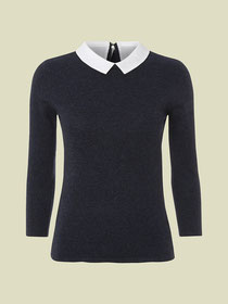 White Stuff detachable collared jumper navy