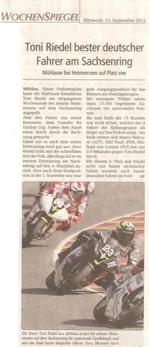 Wochenspiegel Mittweida, Sachsenring, Podest