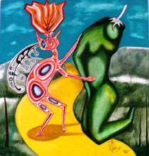 Tamatz y ella sobre el camino amarillo  Acrilico/tela 2011 SOLD