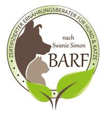 Zertifizierte Ernährungsberaterin für Hund & Katze mit Schwerpunkt BARF ausgebildet von Swanie Simon