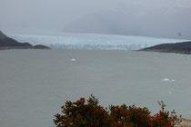 Der Perito Moreno - Gletscher in Sicht - mit treibenden Eisbrocken im Lago Argentino