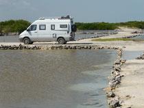 Traumhafter Übernachtungsplatz zwischen den Lagunen bei Puerto Progreso