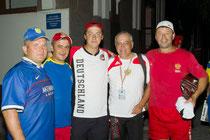 Vladimir (mitte) + Alexander Tsarew (rechts) aus Kovrov/Russland 2010 bei der Europameisterschaft in Pinsk/Weißrussland