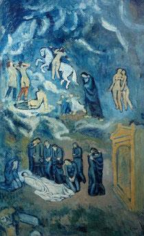 Pablo Picasso.Evocación.Entierro de Casagemas,1901.Óleo sobre lienzo 150cmx90cm.Museo de Arte Moderno de la Villa de Paris.
